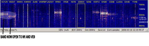 20m beacons 16 mar 06 2 hrs later